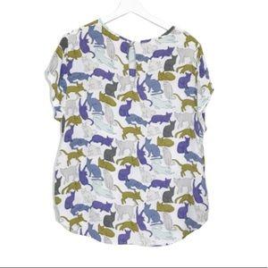 H&M Boxy Pastel Cat Lady Pocket Blouse 14